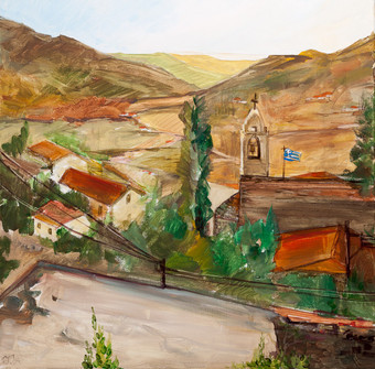 Cyprus Village (2014) by Miho Ebanoidze, oil, canvas. Now in Mihoart Gallery