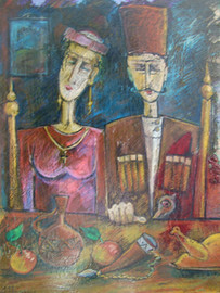 Wedding by Miho Ebanoidze, oil, canvas (1990). Private collection.