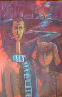 Karamazov Brothers by Miho Ebanoidze (1990s), oil, canvas