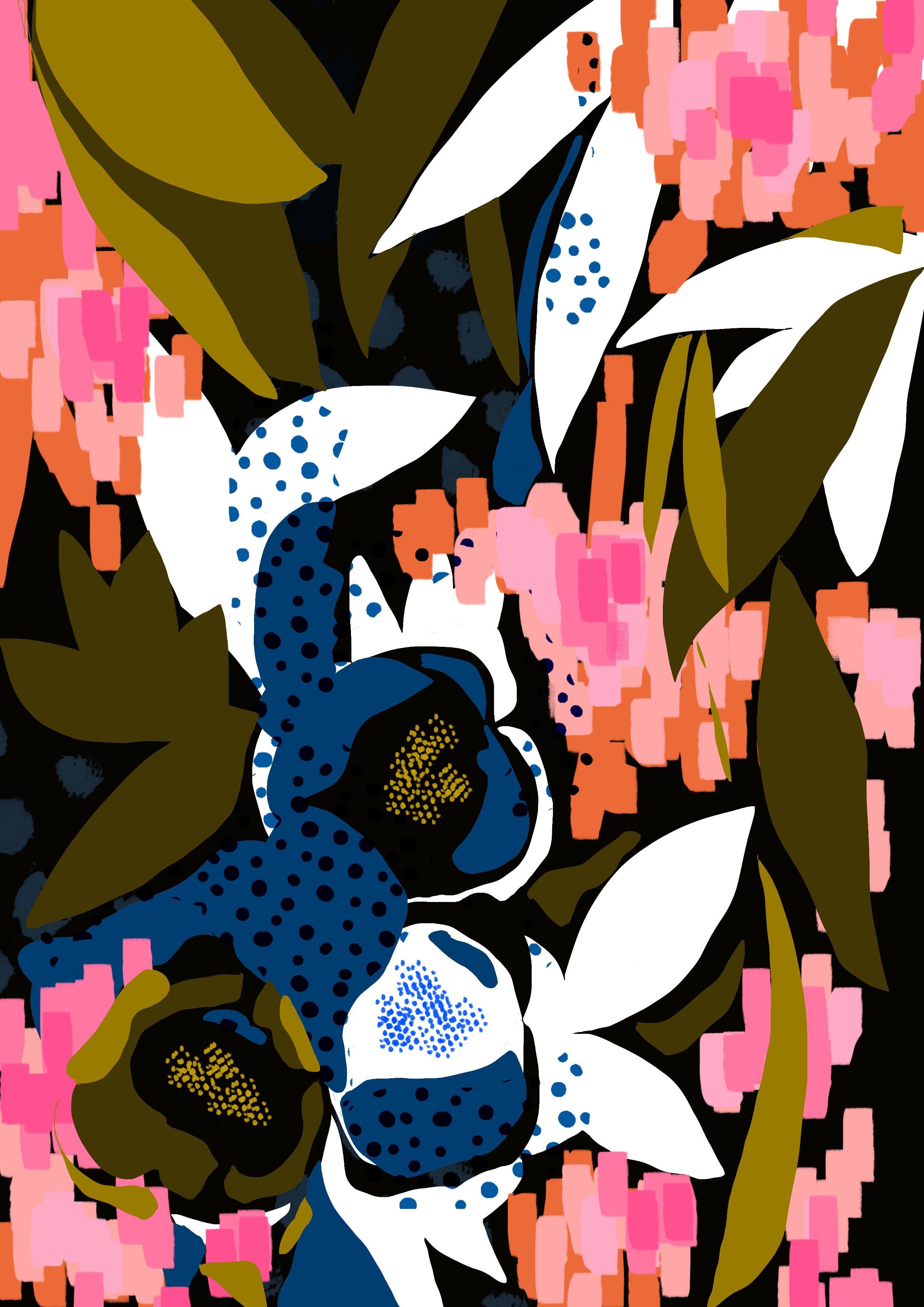 Bright Florals Hand Drawn Pattern Design