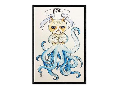 """""""Grumpy Cephalopod"""" digital print"""