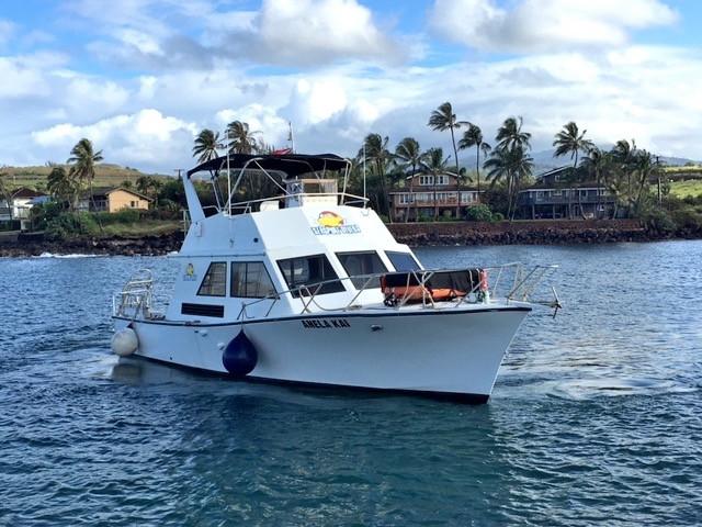 ニイハウダイビングで使われるダイビングボート。ハワイのダイビング用ボートとしては大きな部類だと思う (Photo/Tomohito Ishimaru)
