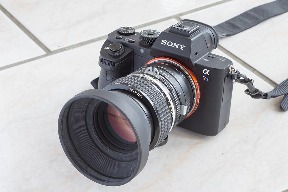 使用カメラはソニーのα7SⅡ。アダプターをつければニコンのレンズも使用可能なのはミラーレス一眼の良いところ