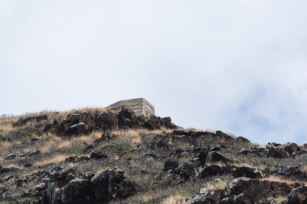 フェンスから背後の山を見上げると、実はピルボックスは見えています。割と近い感じです(Photo/Tomohito Ishimaru)