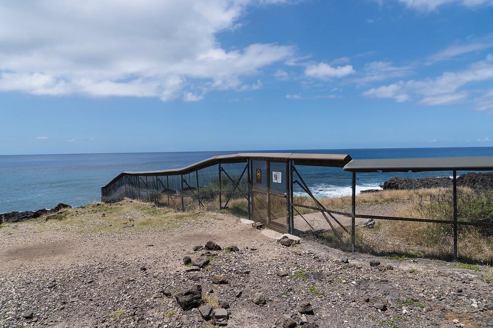 アホウドリを野犬等から保護する目的で設置されているフェンス(Photo/Tomohito Ishimaru)