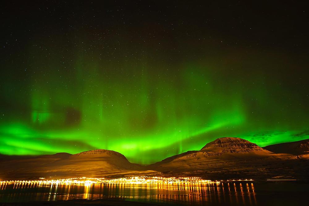 今回のアイスランドの旅で見られたオーロラ。長旅の中でも印象に残っているシーンのひとつ(PHOTO/Tomohito Ishimaru)