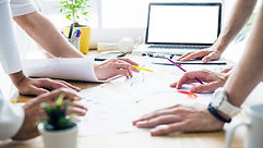 group-businesspeople-hands-desk-workplac