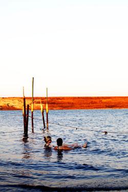 two women in the dead sea