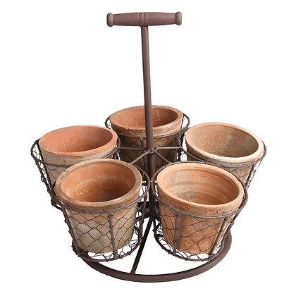 Porte-plantes avec pots en terre cuite