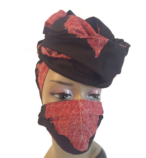 Leaves of Red Head Wrap Set
