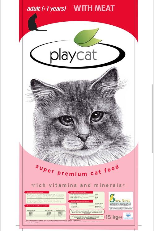 """Playcat """"KUZU ETLİ"""" Kedi Maması 15 KG"""