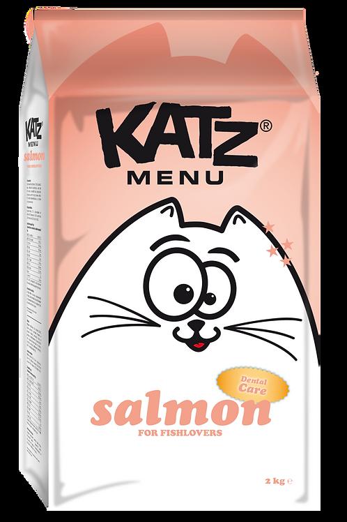 """Katz Menu Balıksever Kediler için """"TAHILSIZ, GLÜTENSİZ, SOMONLU"""" Diş Dostu Mama!"""