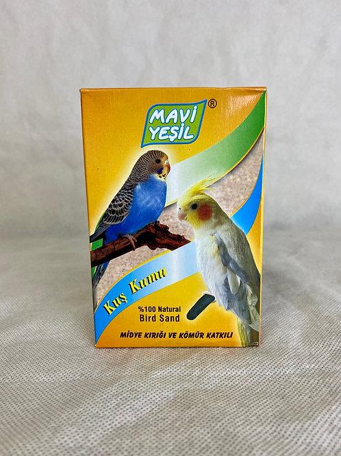 Mavi Yeşil Midye Kabuğu Kırığı ve Kömür Katkılı Kuş ve Papağan Kumu