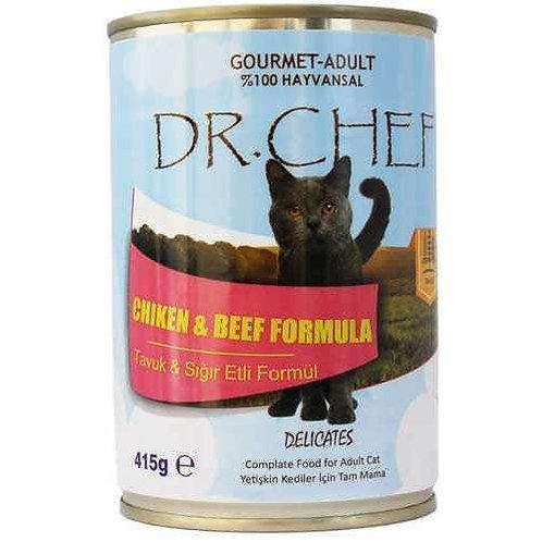 """Dr. Chef Yetişkin Kediler için """"TAVUK ve SIĞIR ETLİ"""" Konserve Mama !"""
