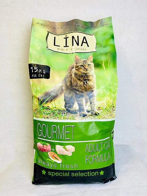 """Lina Yetişkin Kediler için Renkli Taneki Karışık """"GURME"""" Kedi Maması 15 KG"""