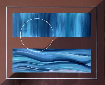 Desert waves, huile et acrylic sur toile, 46x38cm