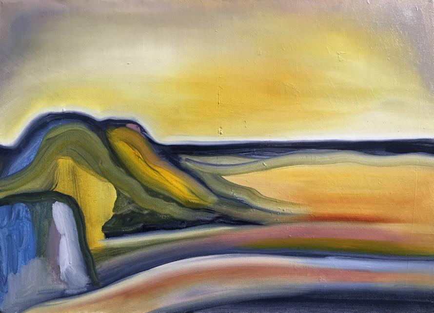 Paysage jaune, huile sur toile, 30x20cm
