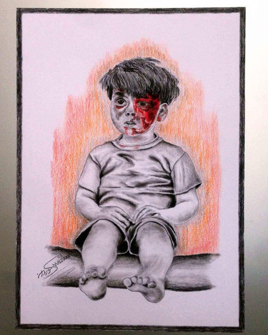 Drawing of Omran by Syrian artist Akram Abu Fawz - periecho.com