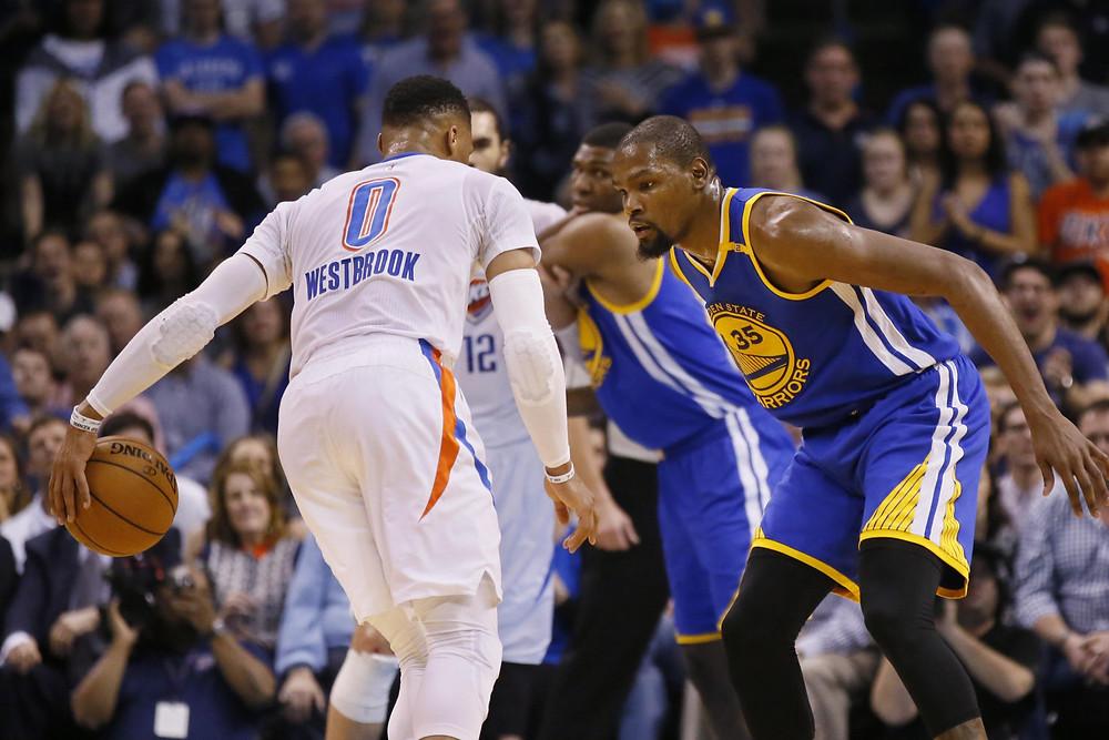 westbrook durant NBA around the game oklahoma city thunder goldan state warriors