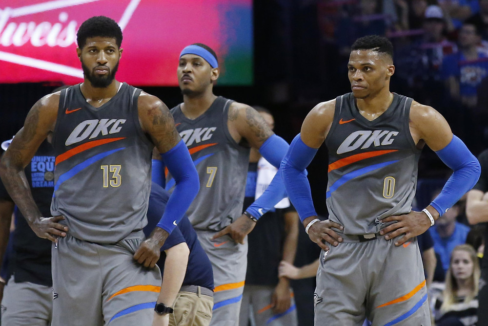 paul george carmelo anthony russel westbrook nba around the game oklahoma city thunder