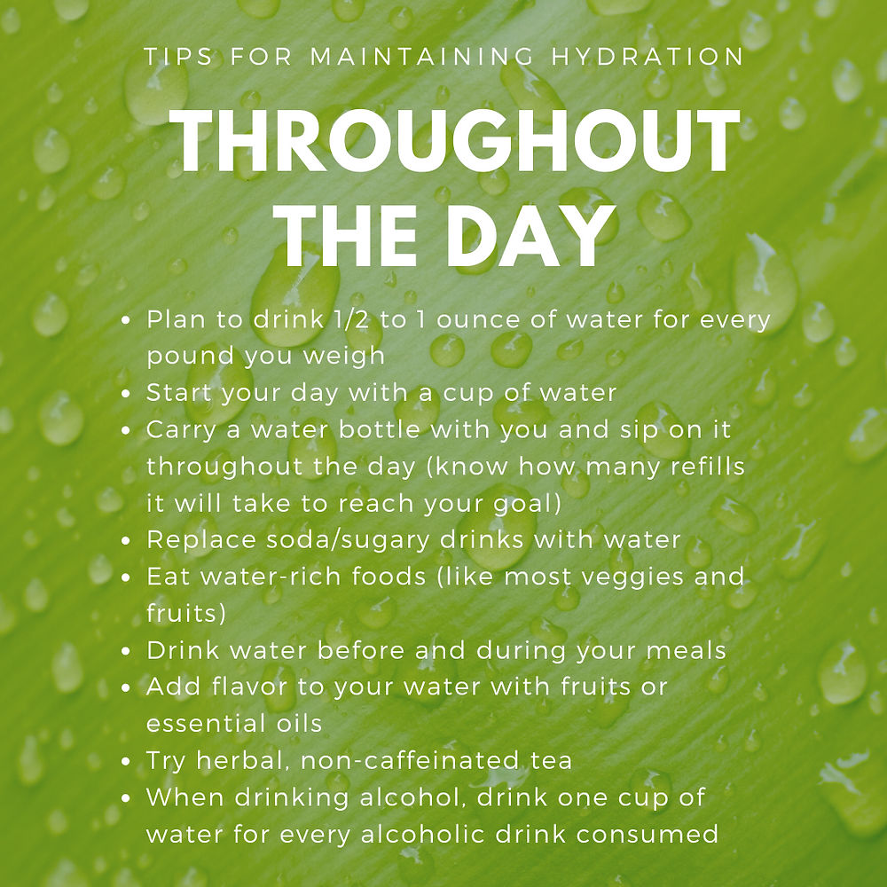 List of items to help you consume more water