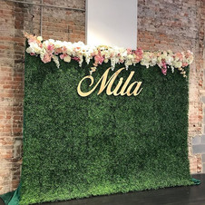 Hedge Wall and Custom Flower Garland