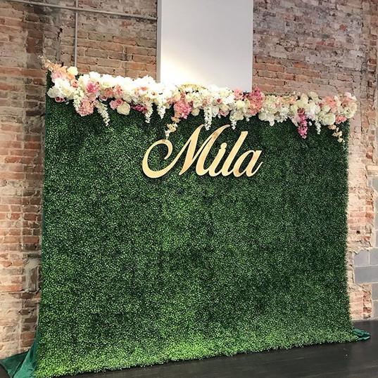 Hedge Wall and Custom Flower Garland