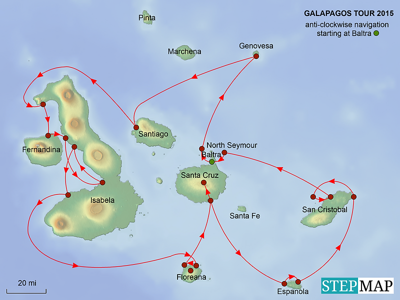 Map of our Galapagos tour