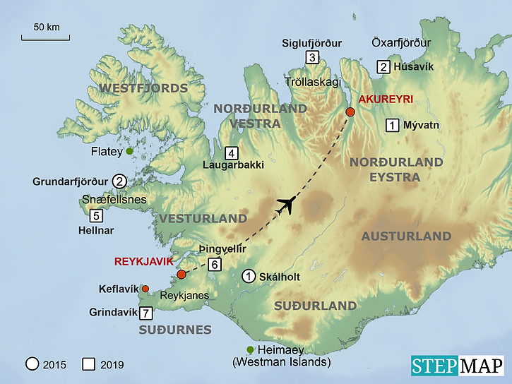 Iceland trip map