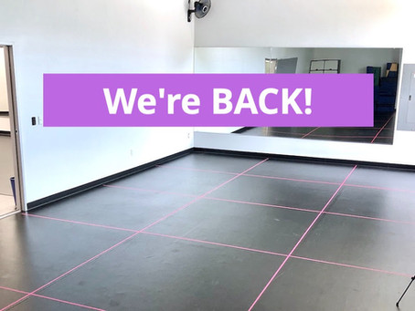 We're Back! In-Studio Instruction Begins Sept. 8