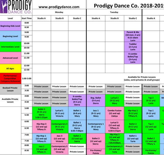 Prodigy Dance Co    Schedule