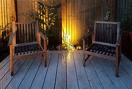 Esher garden decking at night