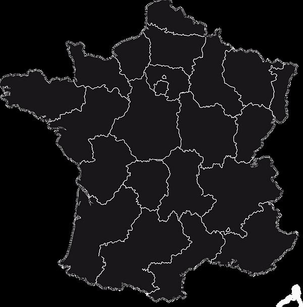 carte france vierge noire par région