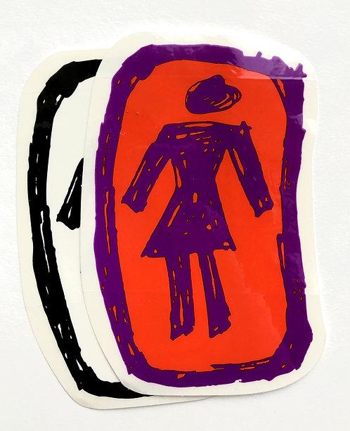 Scribble Girl Sticker