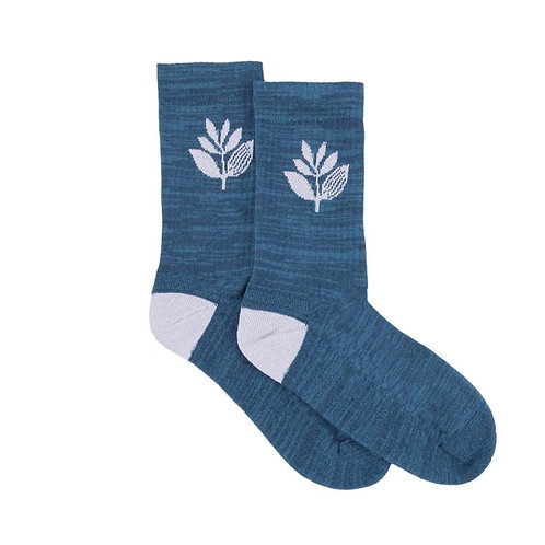 Magenta Plant Socks Blue UK7-9.5