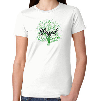 Women's Cut White Tee - BLESSED