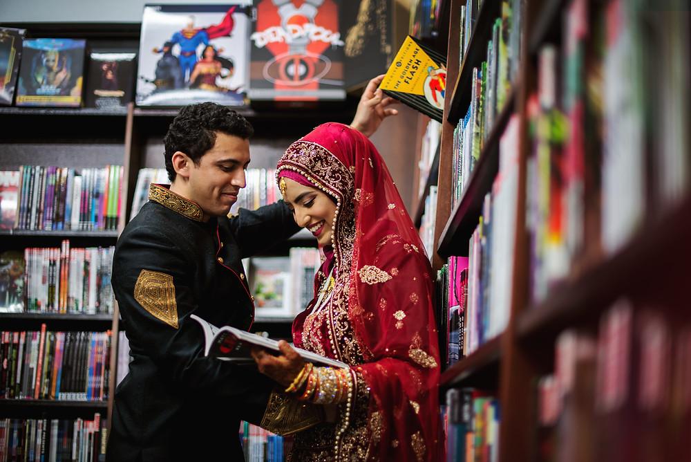 Newlyweds taking a selfie in a Muslim wedding