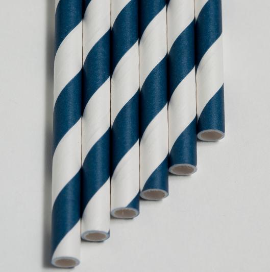 paper bio straws navy blue kevidko