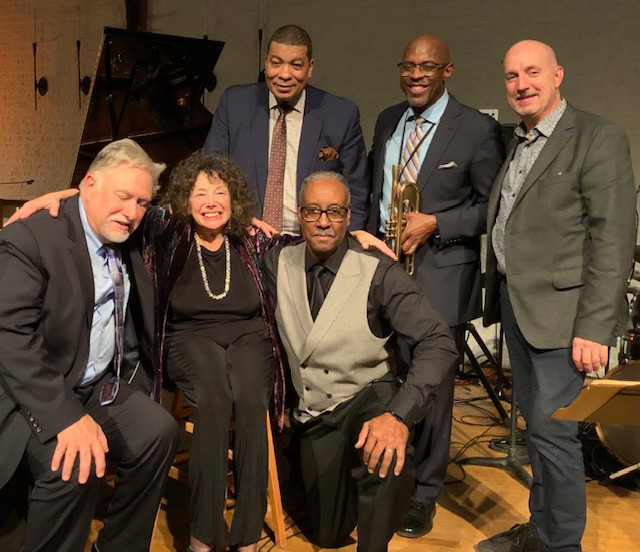 From right to left: Peter Fraize saxophone, Michael Thomas trumpet, Kent Miller bass, Greg Holloway drums, Lisa Rich vocalist and Larry Brown piano.