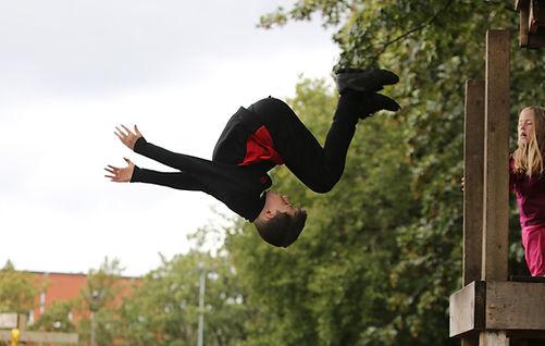 A boy flipping