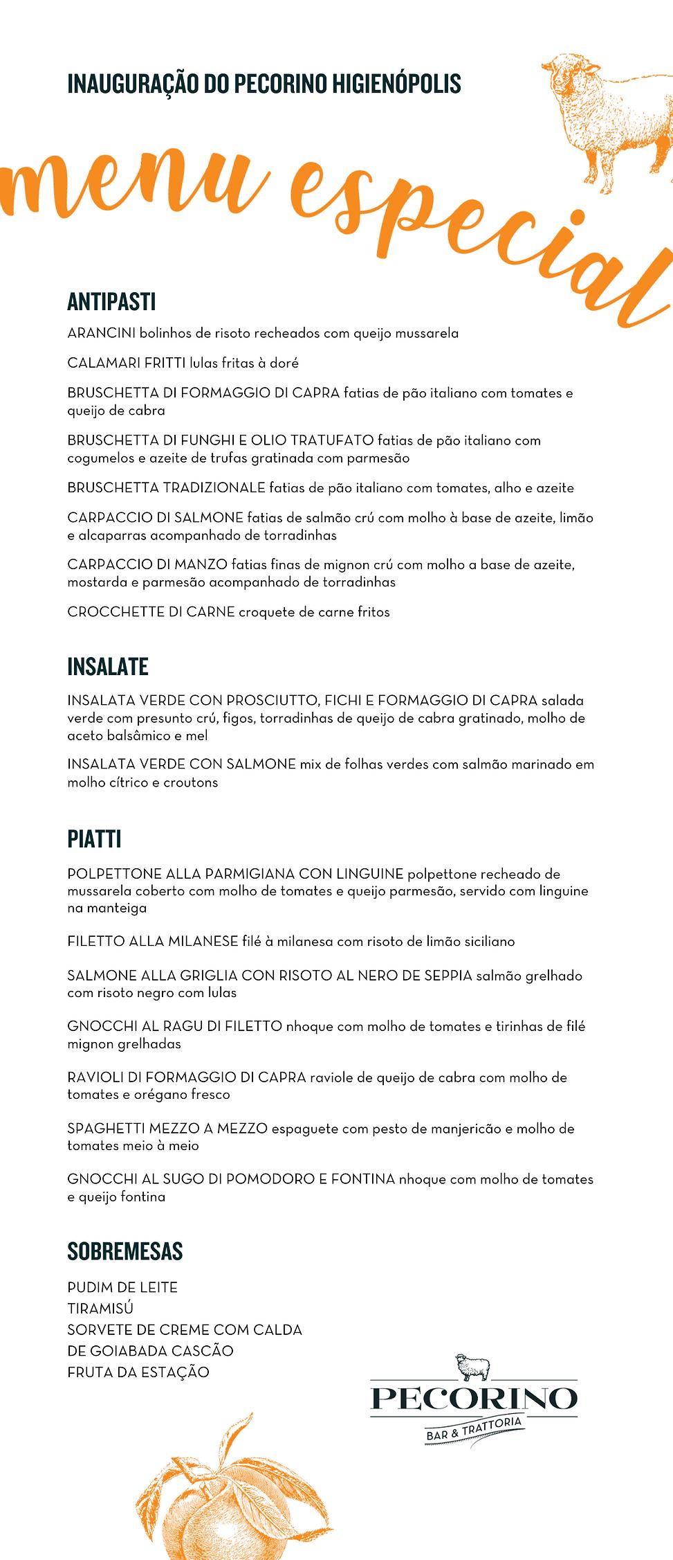 Cópia de Cardápio - Inauguração Pecorino