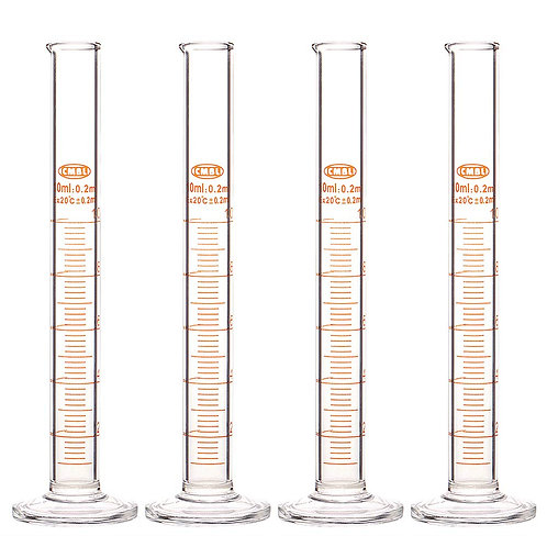 4-Pack Borosilicate Glass Heavy Wall Graduated Cylinder Measuring Cylinder