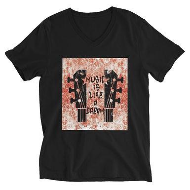 Unisex Short Sleeve V-Neck T-Shirt | Music is like a dream