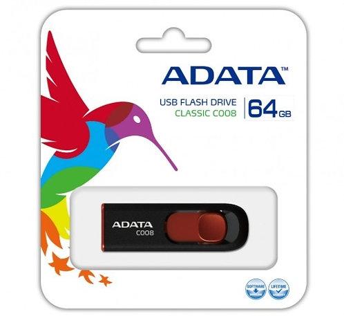 Adata C008 64GB USB 2.0 Negro/Rojo