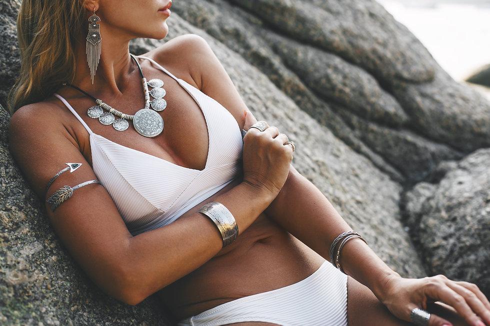 Photo of beautiful boho styled model wea