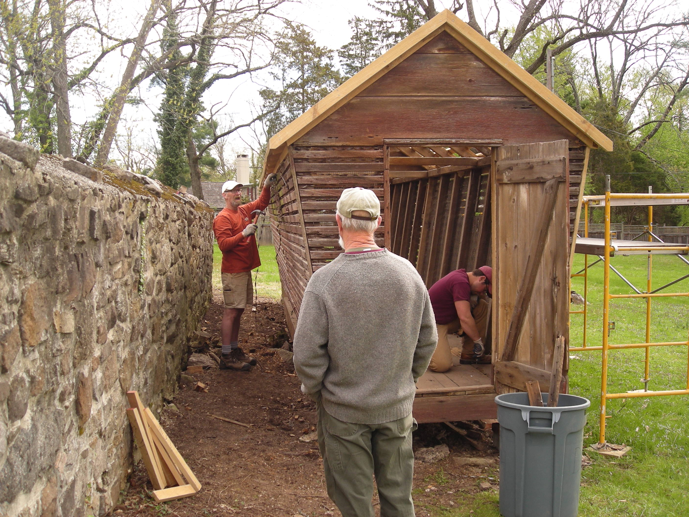 PHMC Carpentry Crew Working on Corn Crib