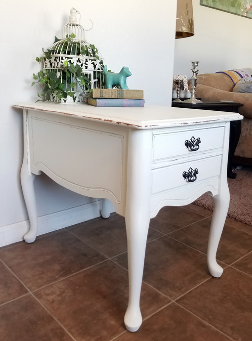 Darling Solid Wood French Provincial Side Table Painted White And  Distressed With Oil Rubbed Bronze Handles. Dimensions: 19 W X 29 D X 23.5 H