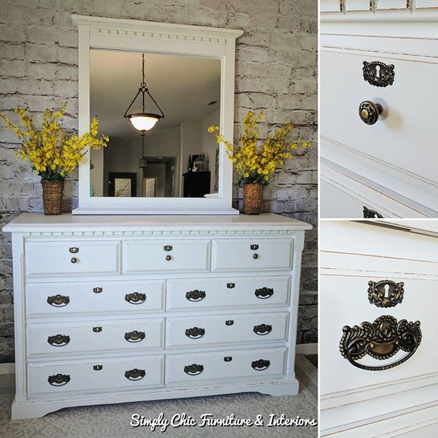 This dresser and mirror are part of the
