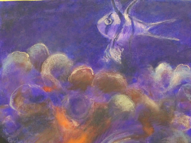 small fish amid the coral - pastel