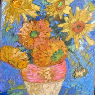 oil sticks over pastel, after Van Gogh